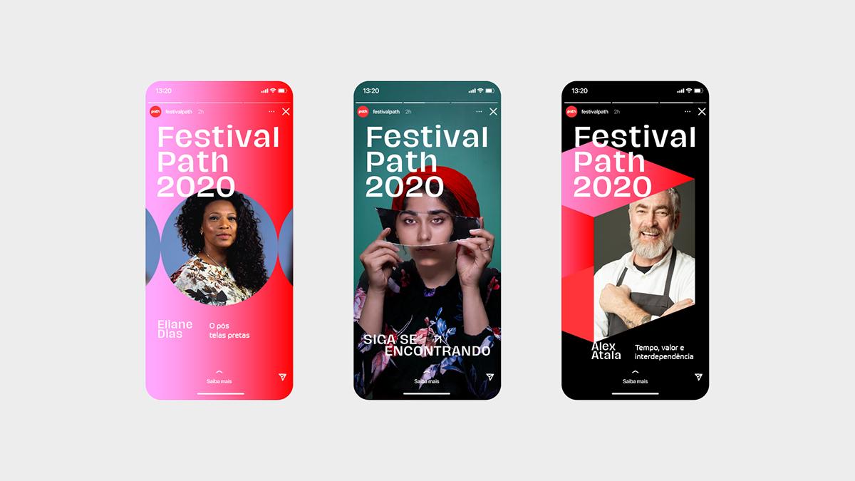 Creativity digital festival path talks branding  identity logo red visual identity