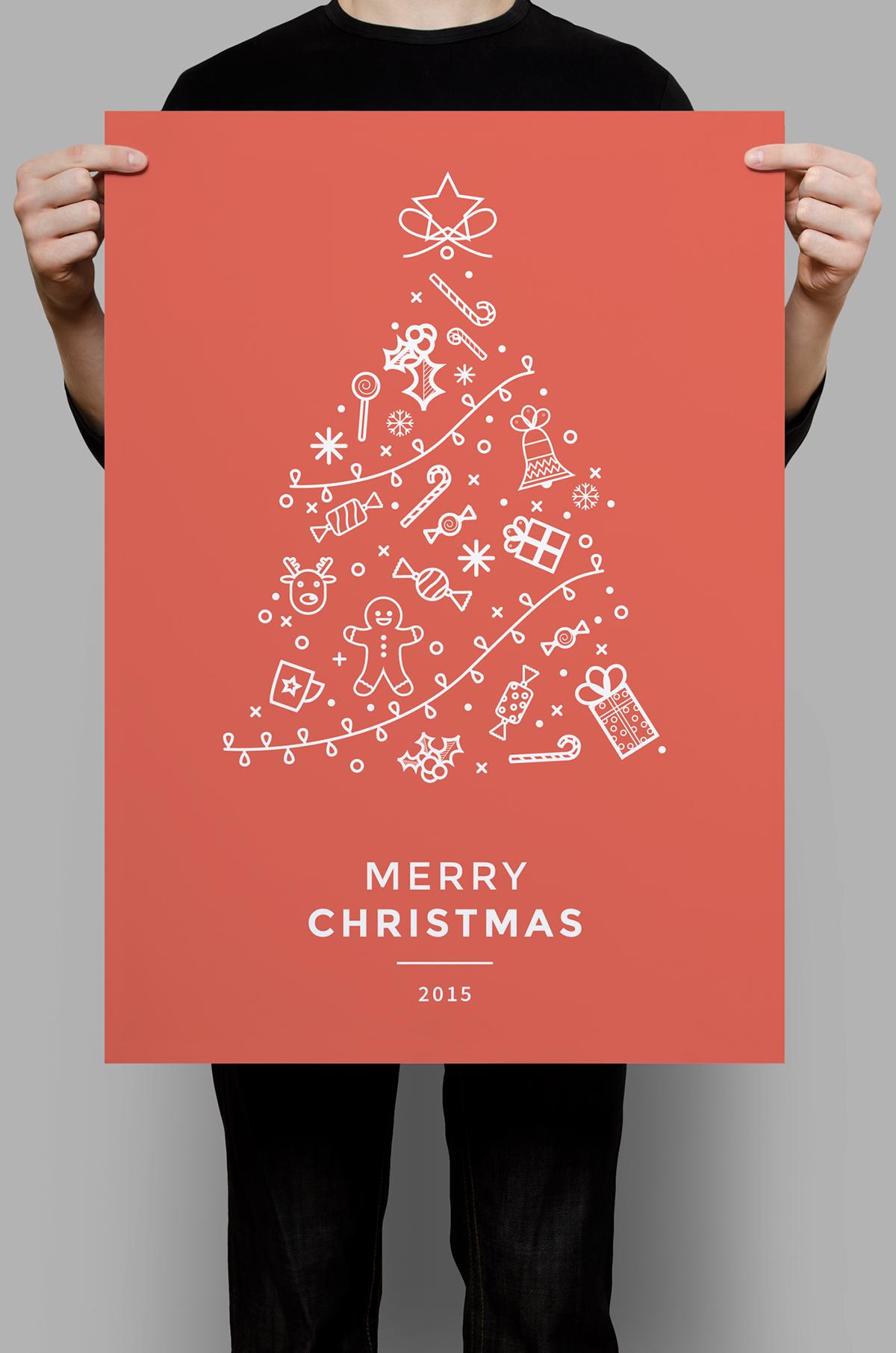 minimal icon christmas flyer on behance