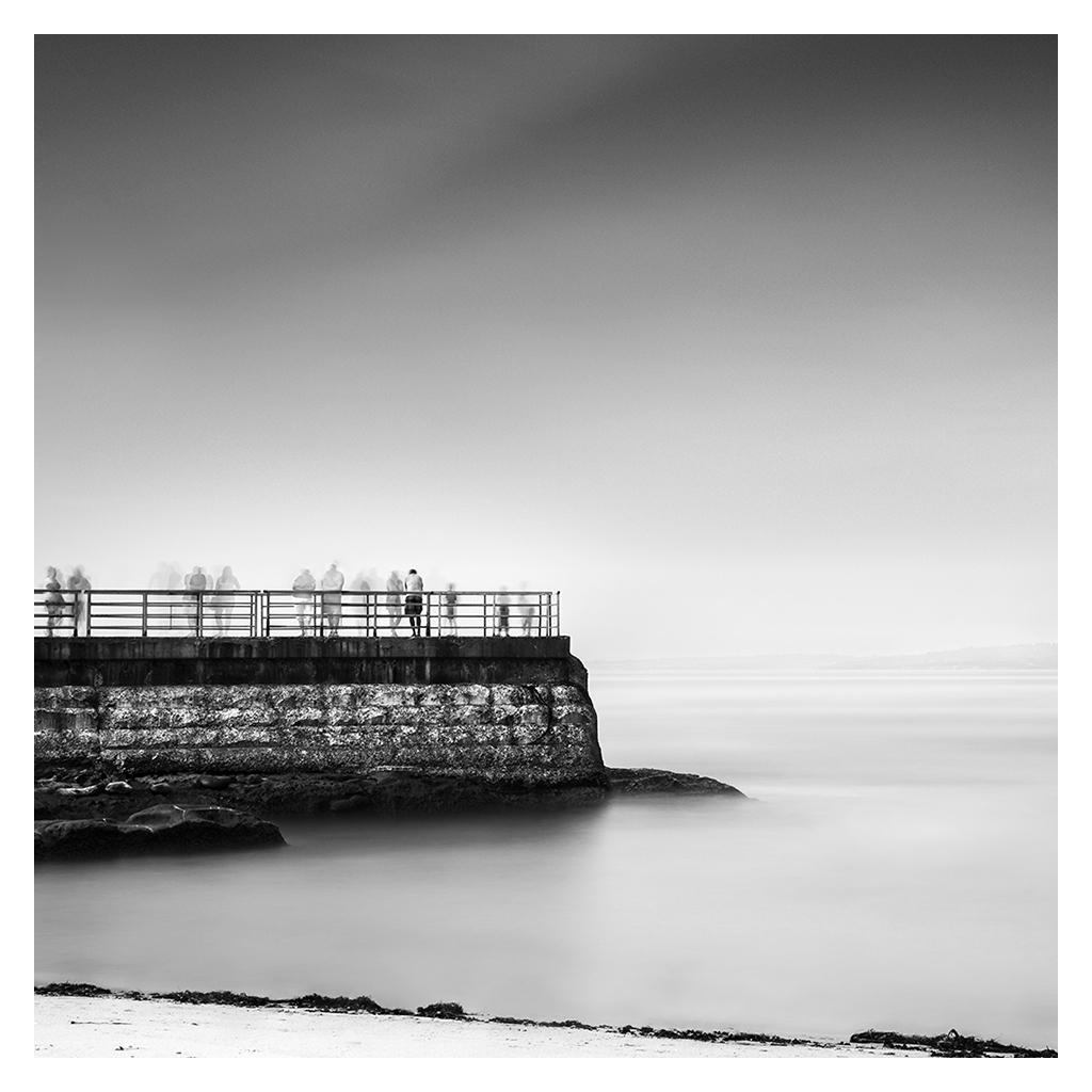 Landscape seascape long exposure loneliness solitude water sea minimal black and white color