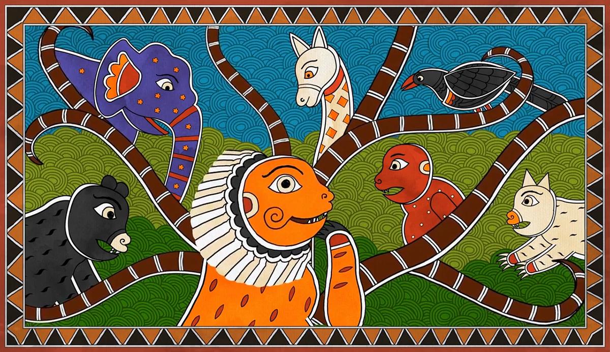 folktales of india folktales animation  madhubani mithila   ILLUSTRATION  India Uttarpradesh  lion's wedding jungle