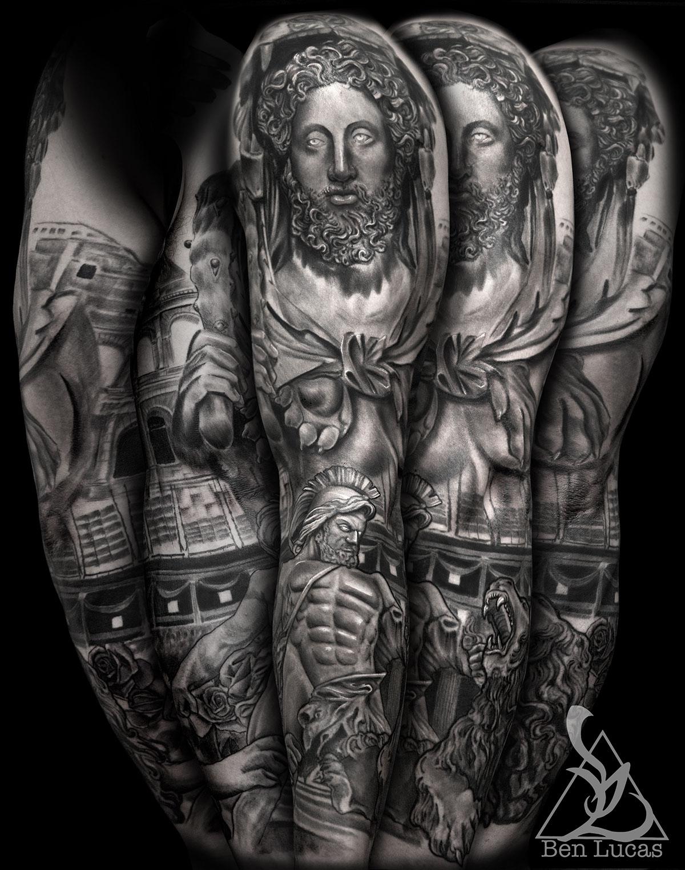 Hercules fighting the lion roman statue sleeve tattoo on ...