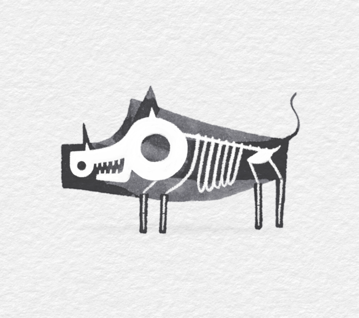 animals Calligraphy   Character cute design Drawing  ILLUSTRATION  ink Procreate skeletons