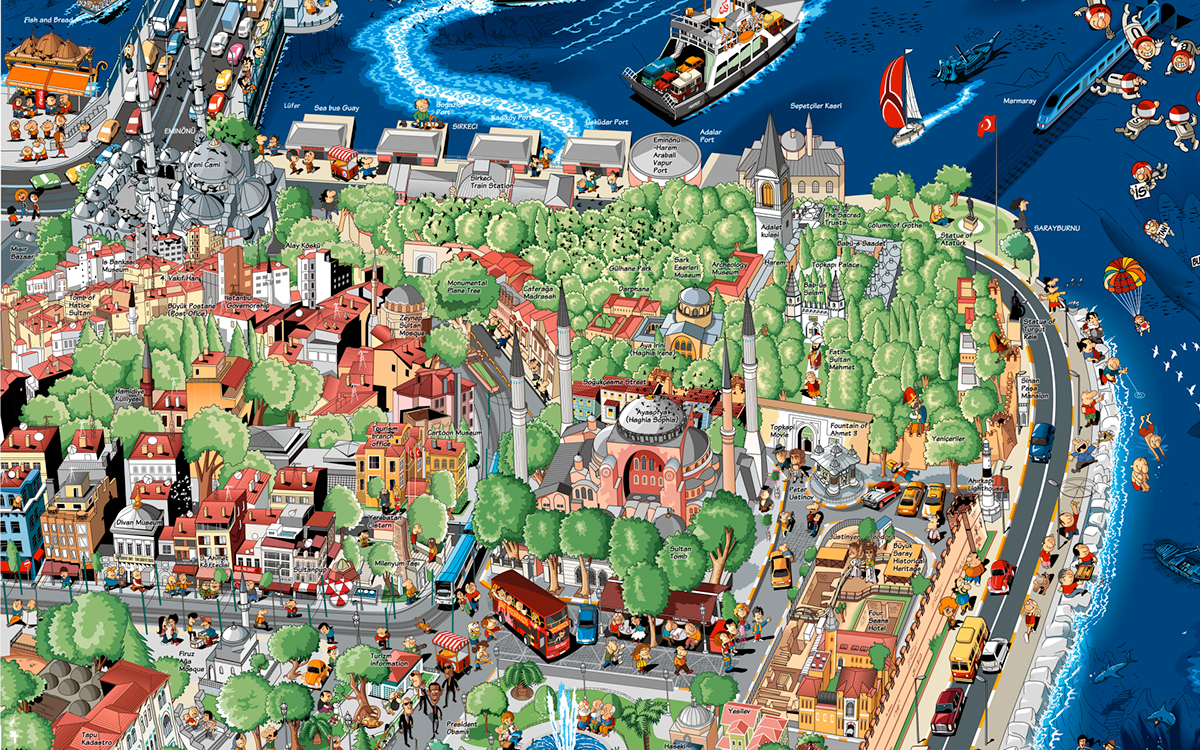 ISTANBUL CARTOON MAP on Behance