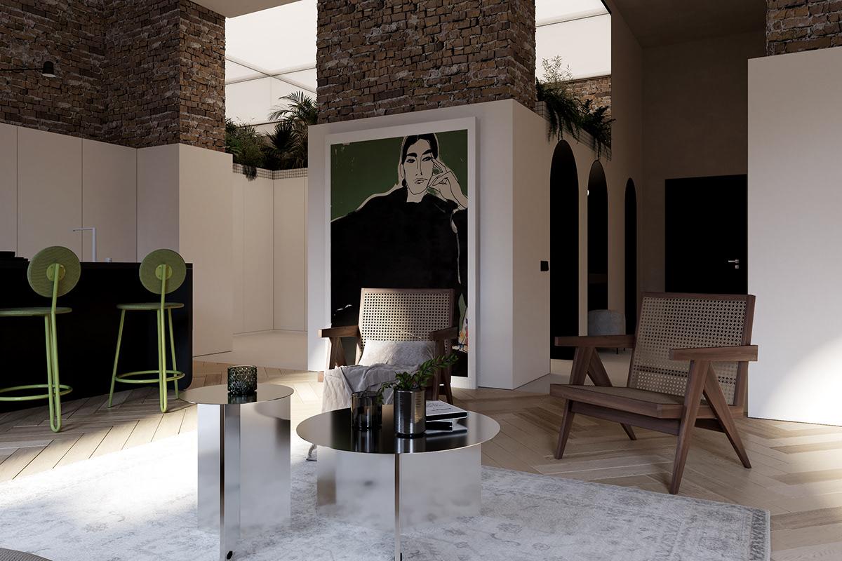 apartment apartment design architecture design Interior LOFT Minimalism Modern Design onemoreburo restavration