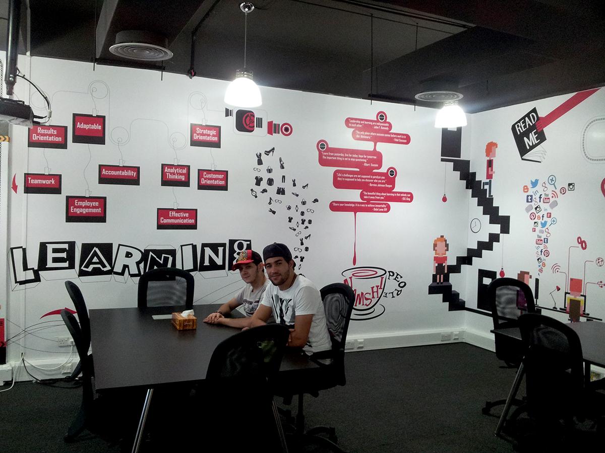 Wall design on behance for Training room design ideas