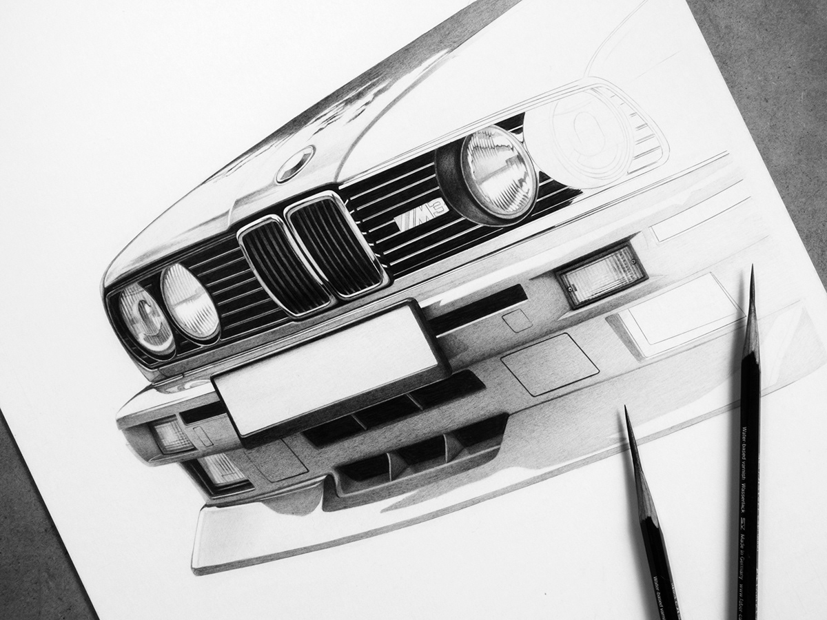 Bmw E30 M3 Realistic Drawing On Behance