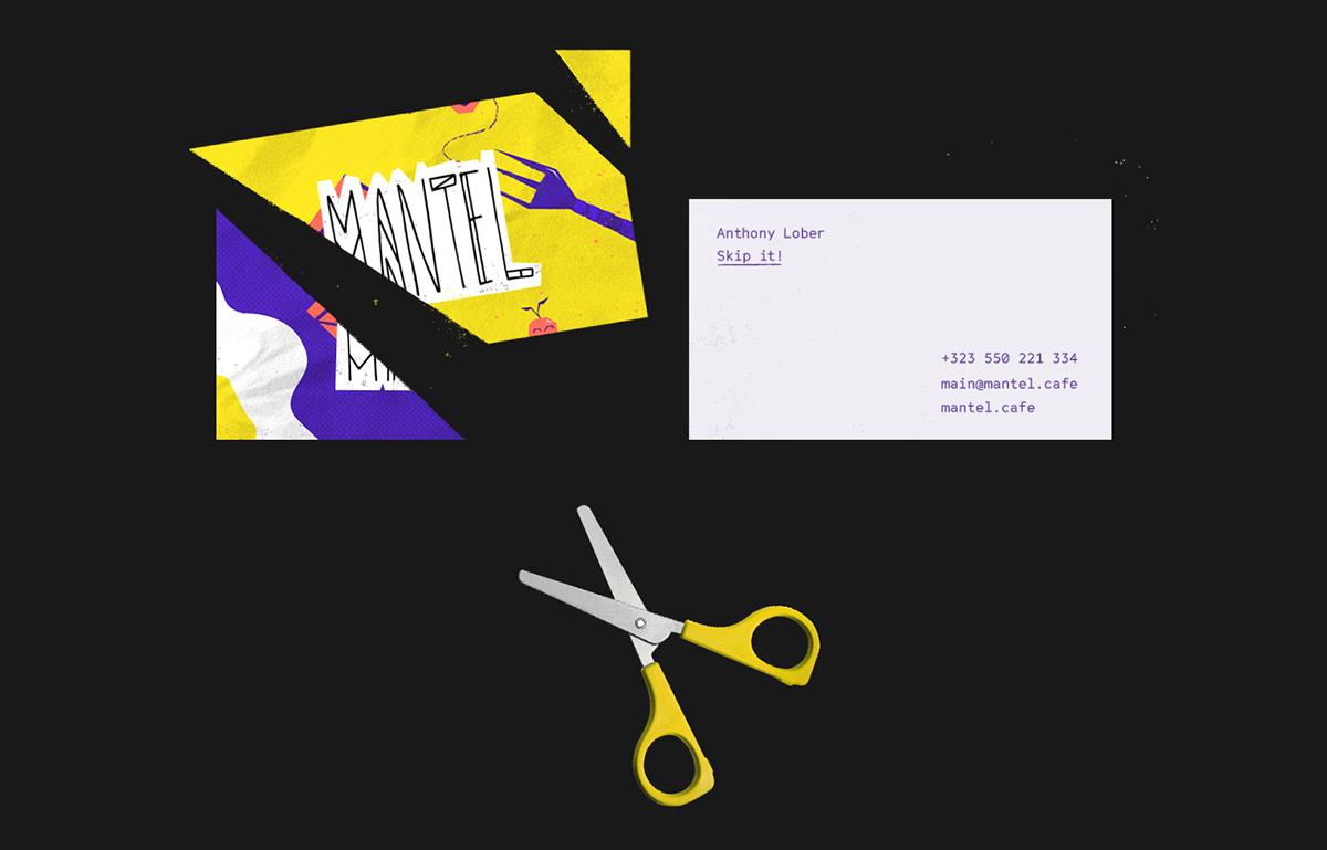 mantel cafe identity ILLUSTRATION  colorful branding  grunge graphic design  yellow