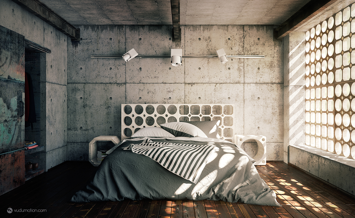 Industrial Bedroom Industrial Bedroom On Behance