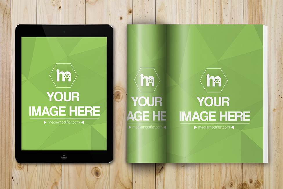 open magazine and ipad tablet psd mockup template on behance