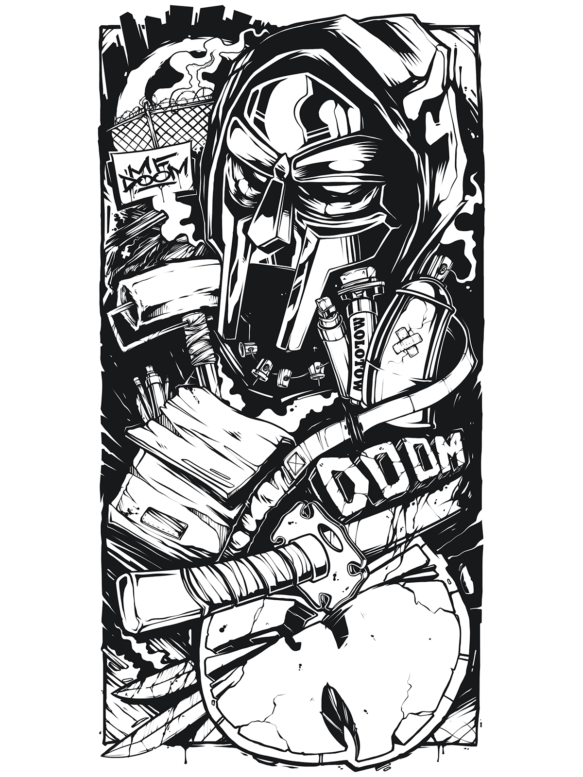Sleeve tattoo sketch mf doom wu tang on behance for Mf doom tattoo