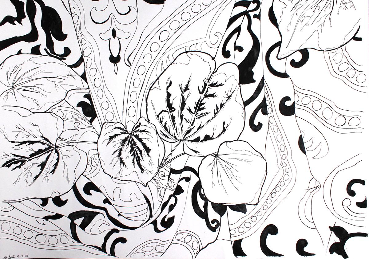leaf organic fabric still life Drawing  pen ink inktober