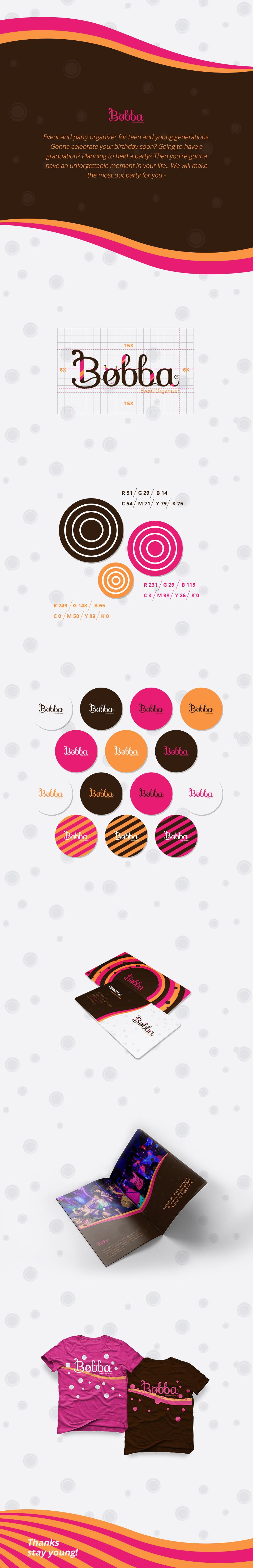 bobba event organizer design Fun Young teen brown pink color t-shirt stationary logo