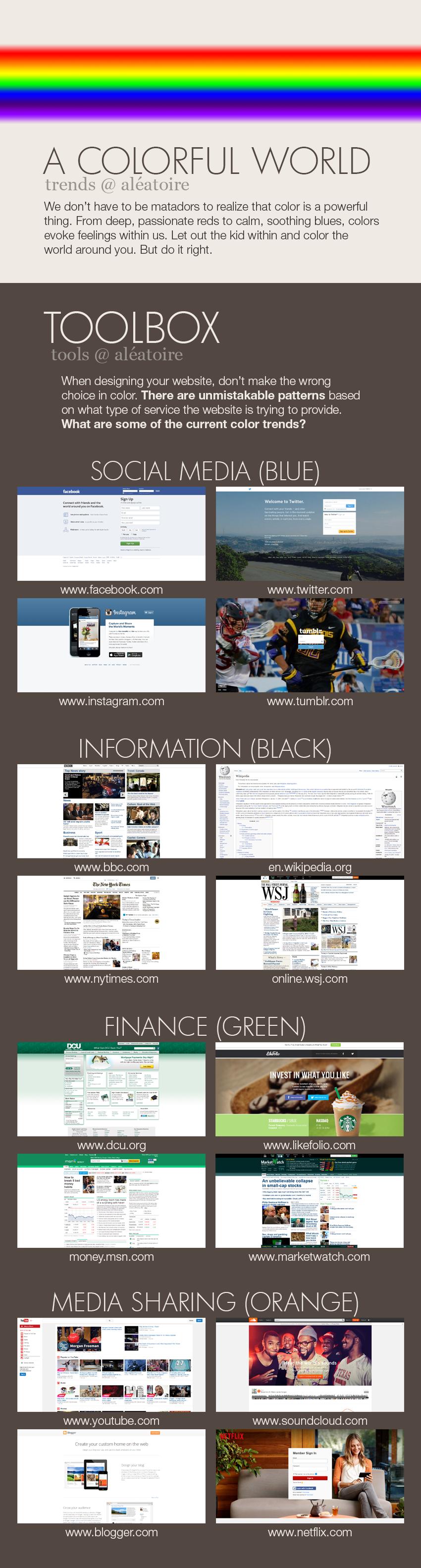 color social media information finance media sharing design trends