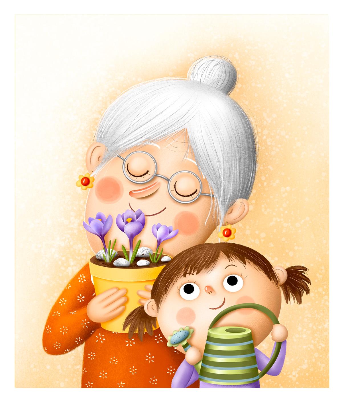 babicka book children Flowers grandmother ILLUSTRATION  spring