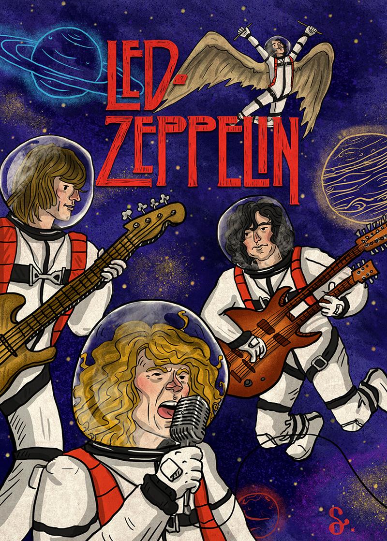 Led Zeppelin Space  concert ILLUSTRATION  Drawing  digital illlüstrasyon