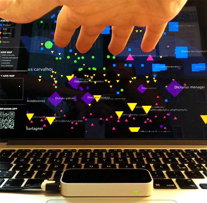 leapmotion interactive abstract sound iucn red list endangered animals extintion max/msp processing data visualization geometry