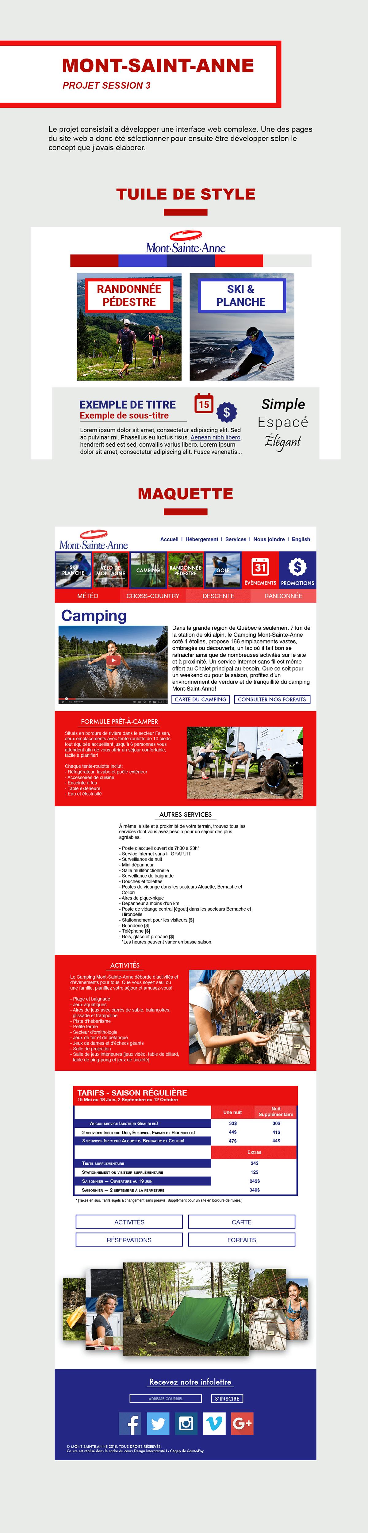 mont-saint-anne Nature Web Interface design Responsive Ski randonnée planche camping golf velo