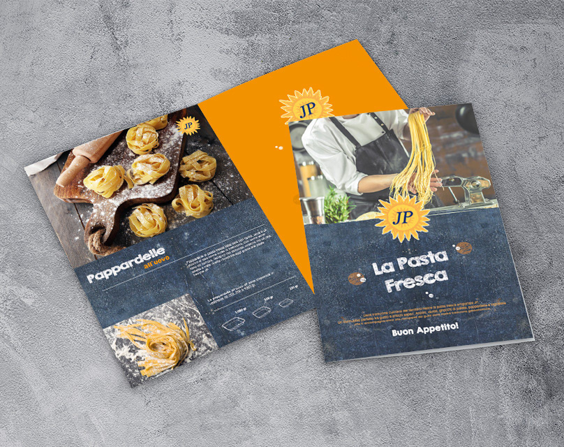 Pasta fresca brochure grafica InDesign photoshop