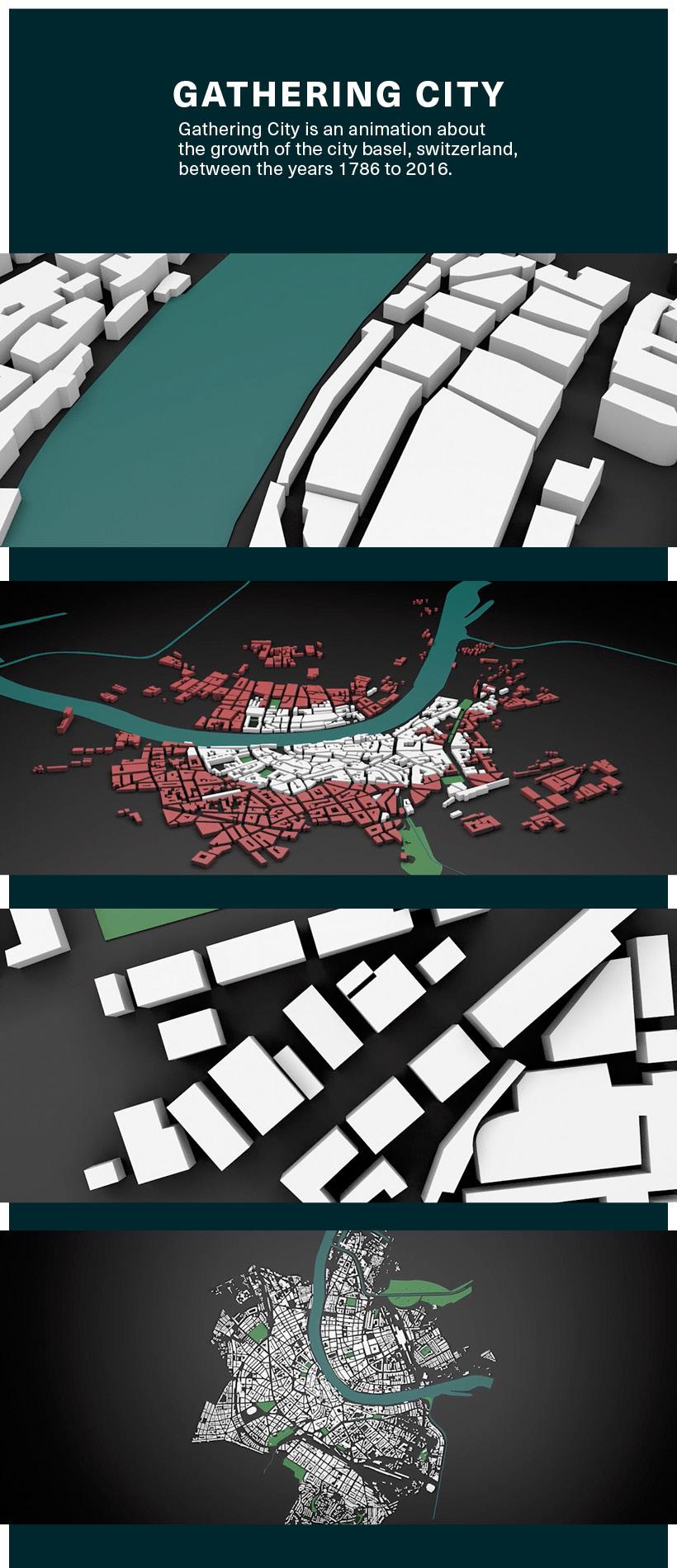 animation  c4d Basel city motion design