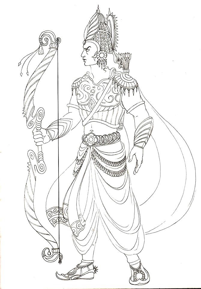 mahabharata characters drawings for colouring book on behance