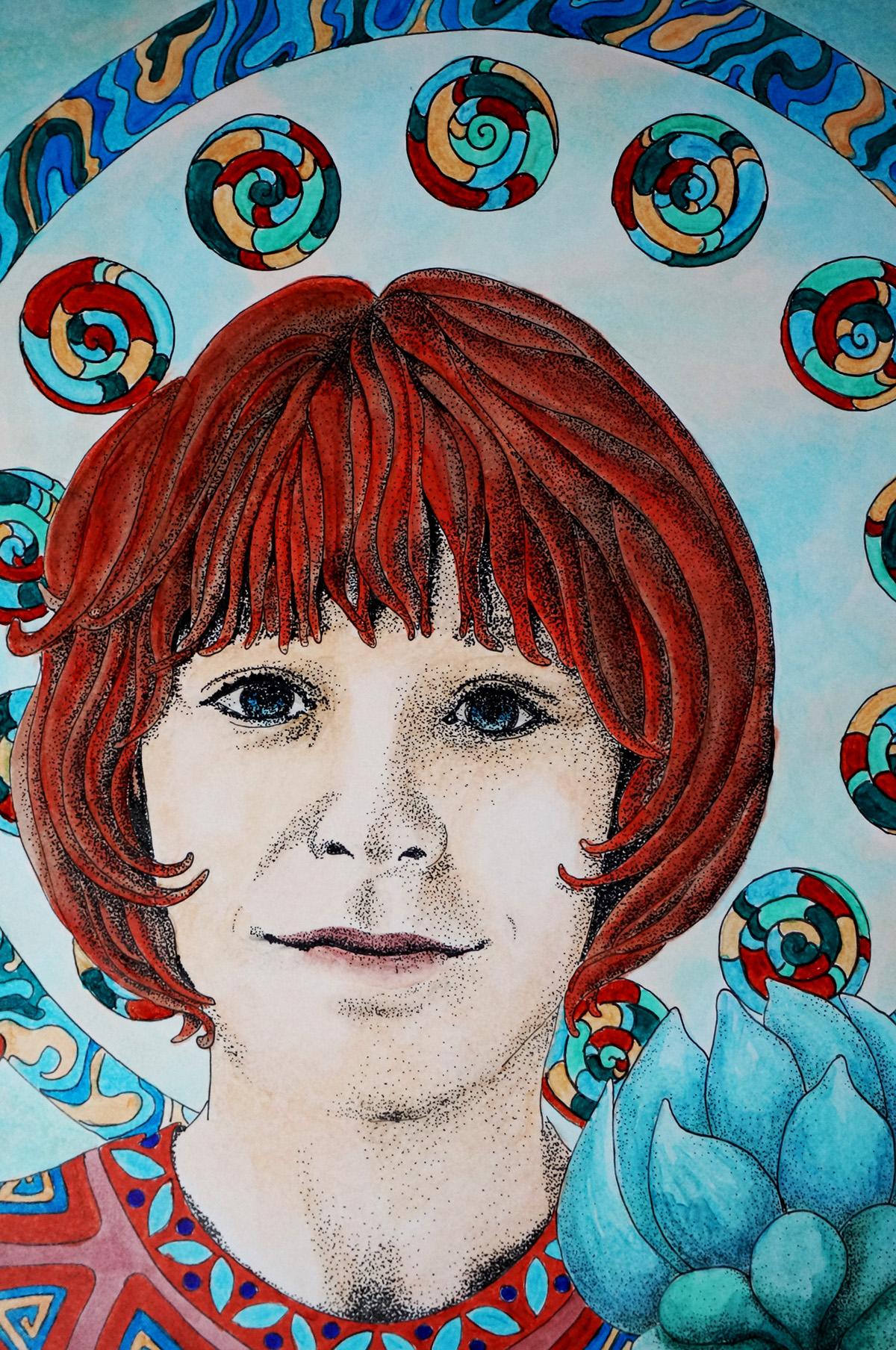water dotwork art nouveau card