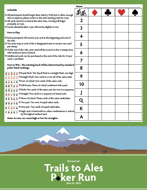 Trails to Ales Poker Run — Score Card & Map on Behance