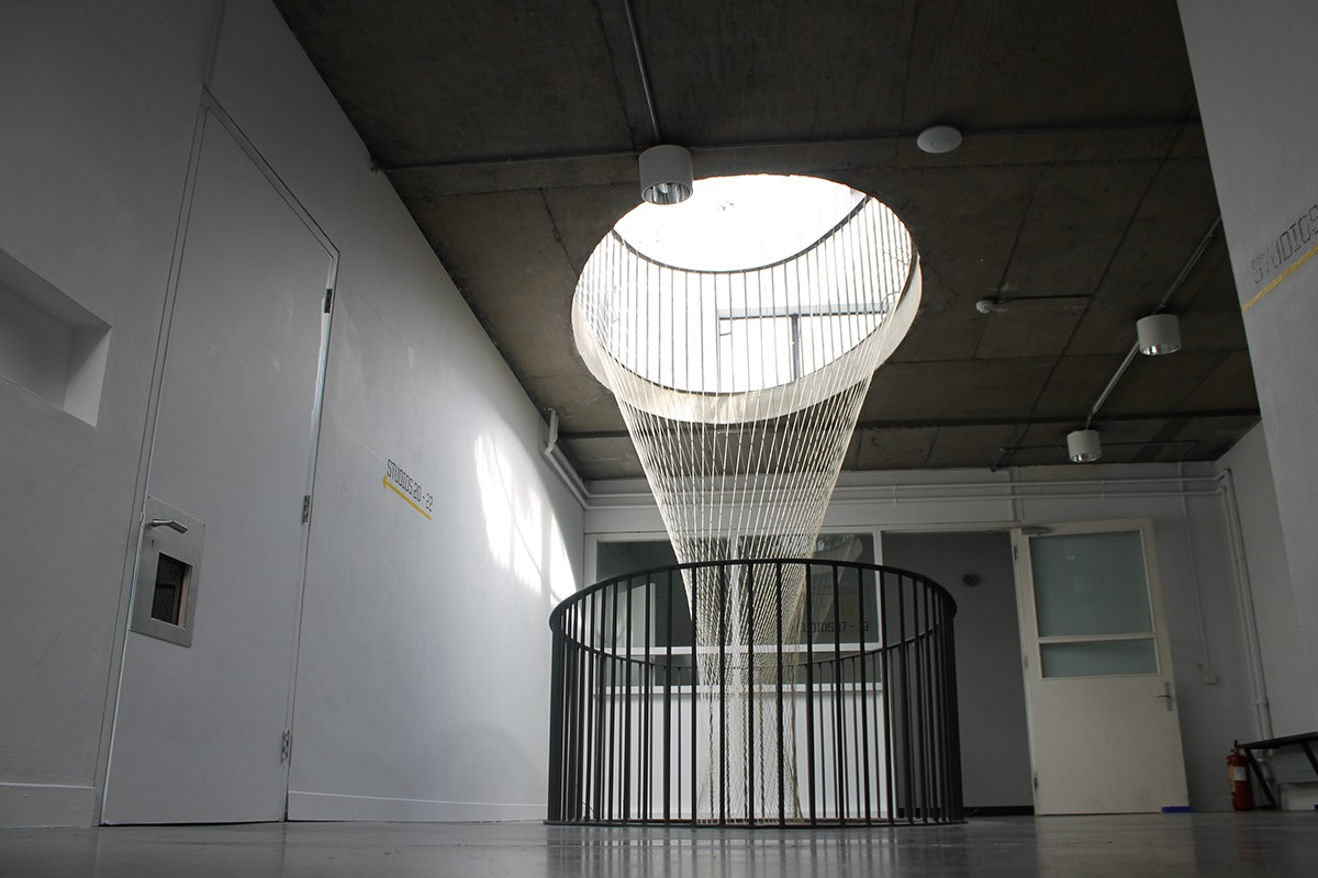 Site-specific,Sisal,TWINE,sculpture,installation,dublin,culture night,hyperboloid,gallery,atrium