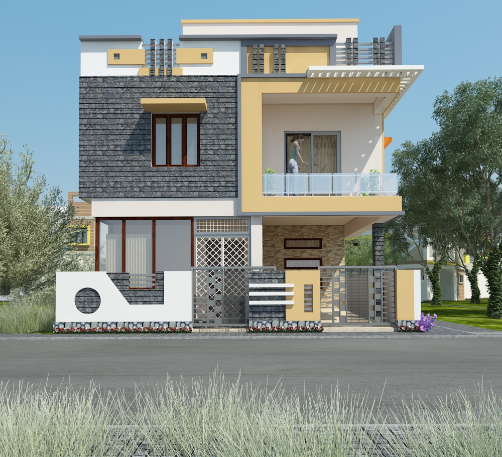 Home Exterior Design Tool: Small Home Exterior Design 3D VIEW On Behance
