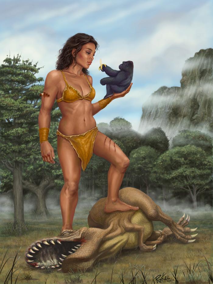 Giant Woman King Kong t-rex