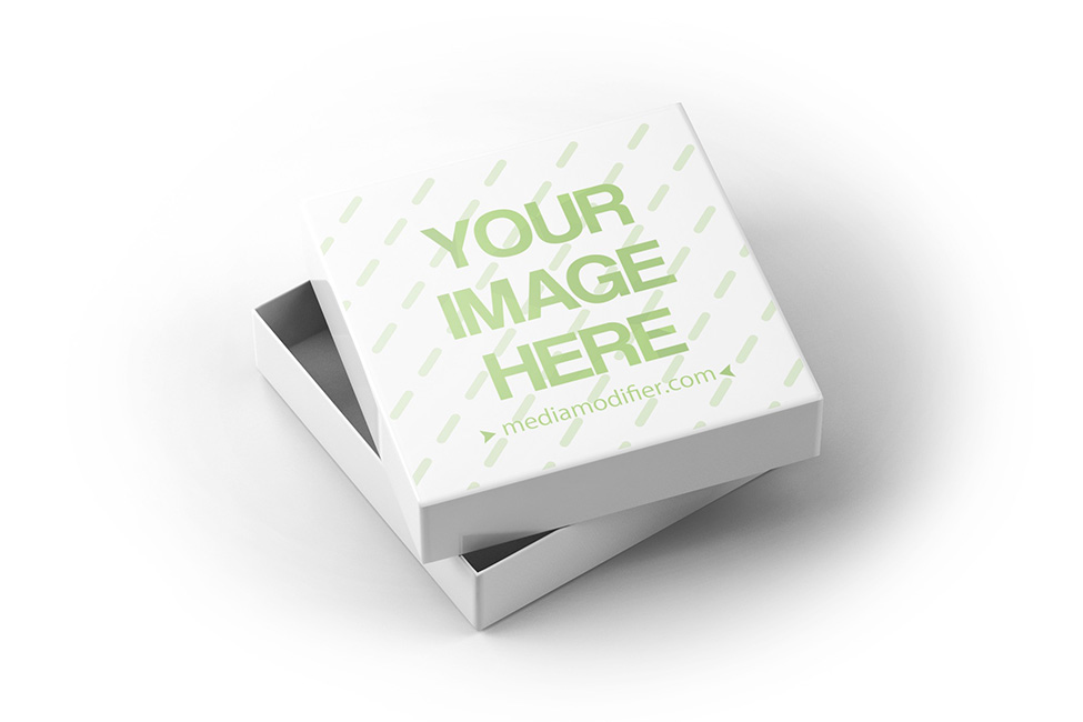 square box with lid open mockup template on behance