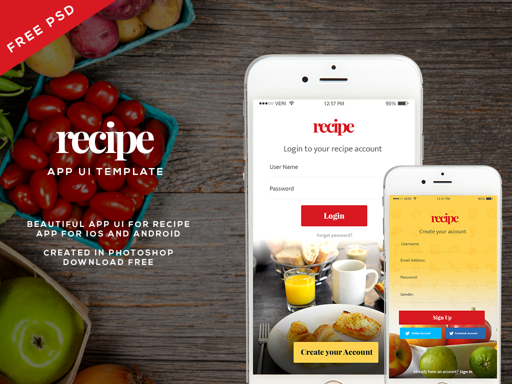 Free recipe app ui psd for ios and android follow on behance forumfinder Images