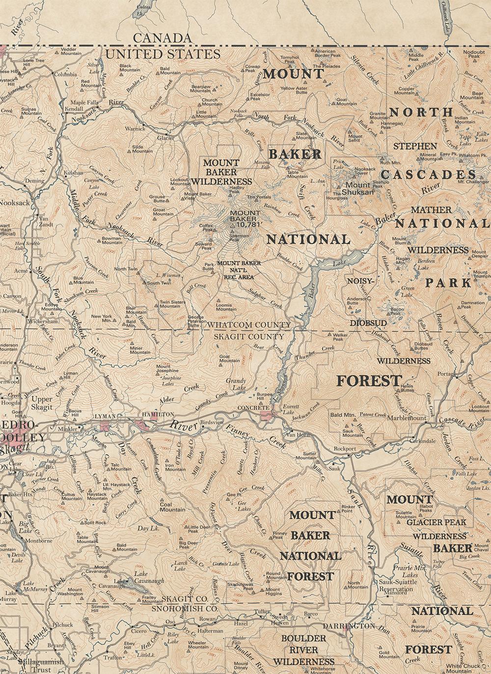 cartography map Victorian antique GIS topo ILLUSTRATION  seattle mountain diagram