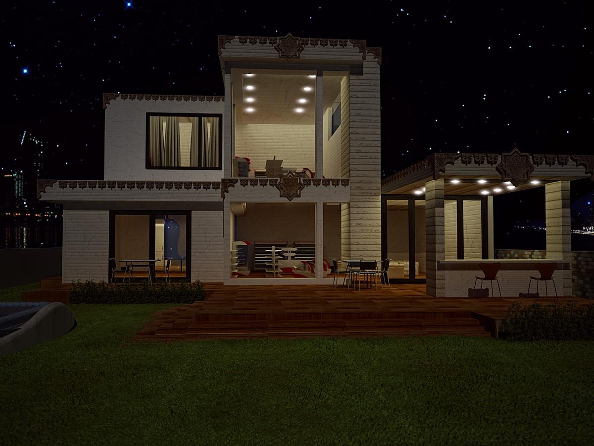 Elegant 3D Night View Exterior Villa On Behance