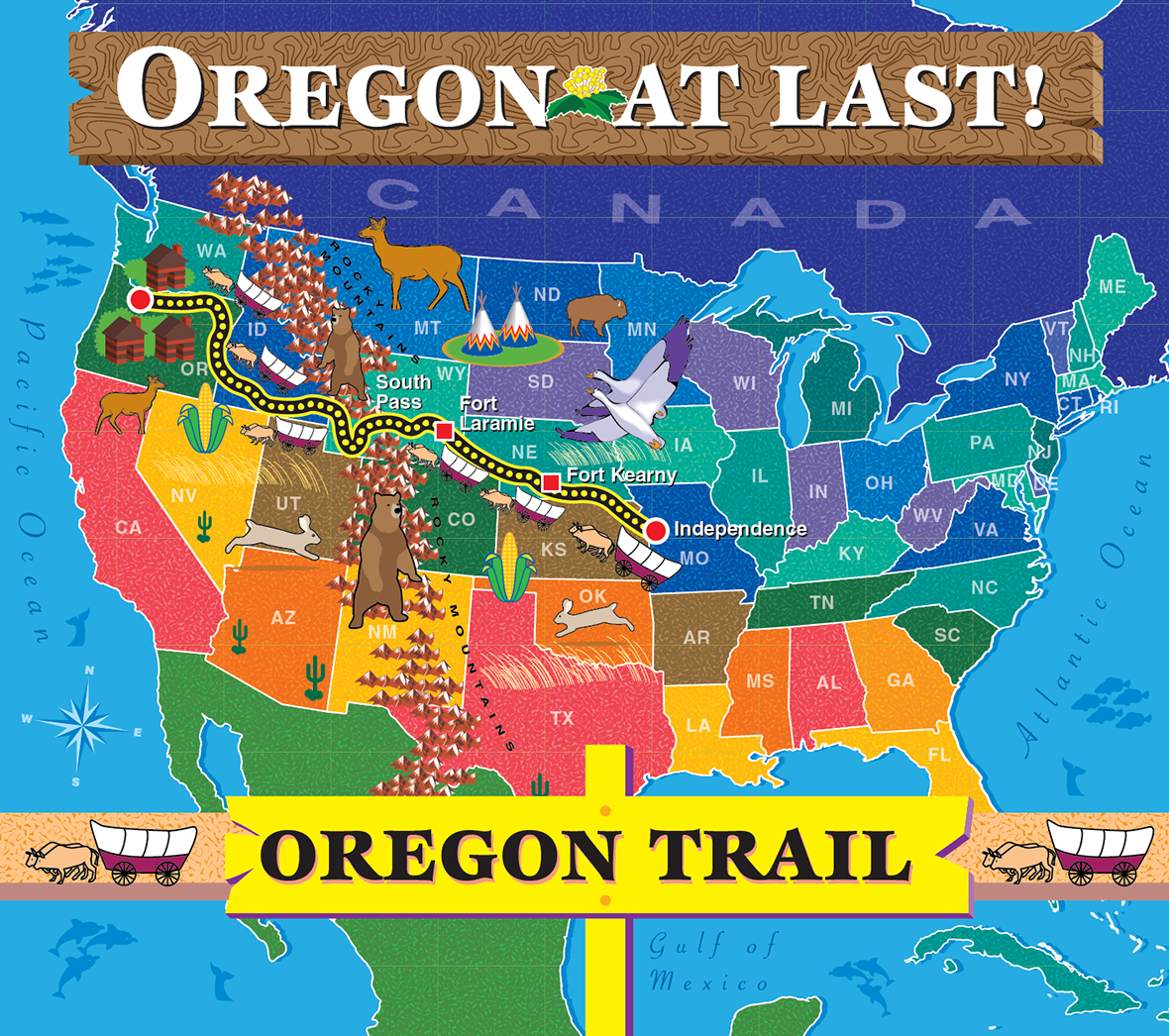 Map of Oregon Trail for childrens\' reading program on Behance