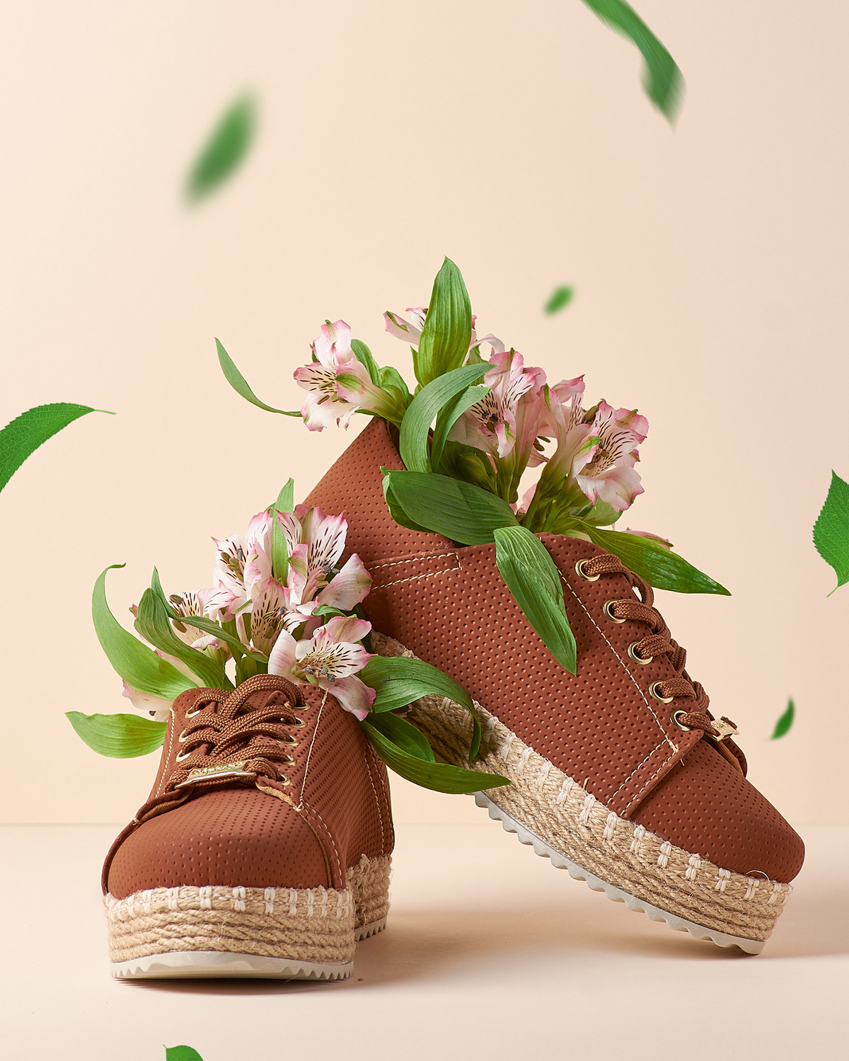 Flowers leaf Product Photography shoes sneakers spring