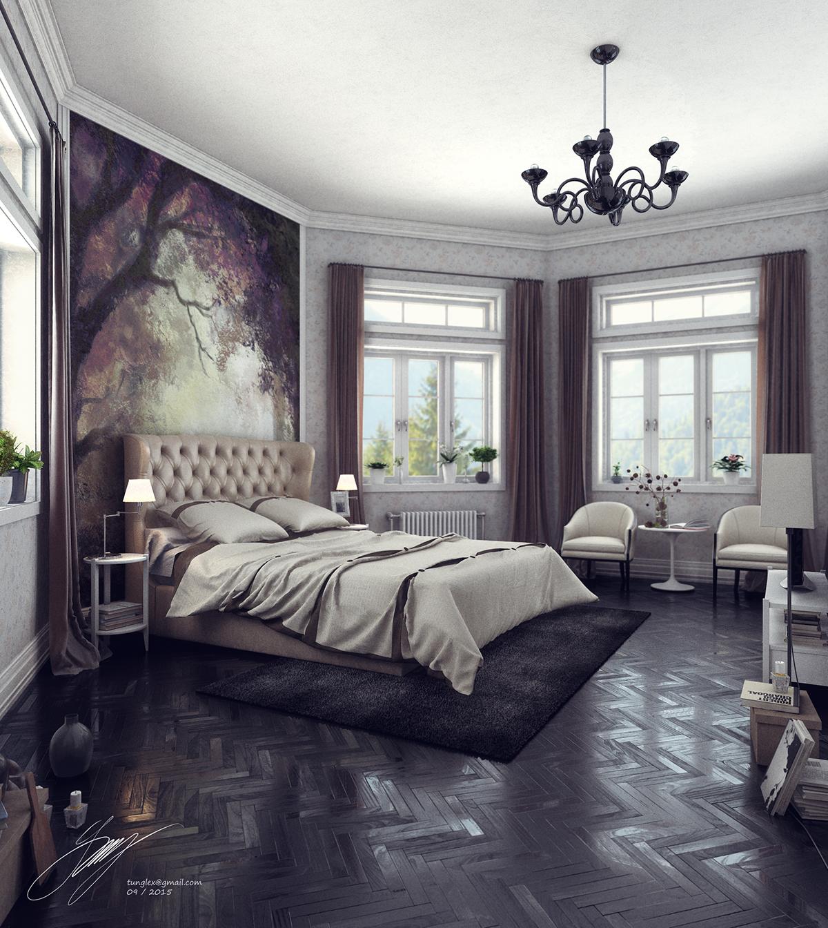 black floor black brown Black Wood wall art Wall draw modern Classic bedroom furniture Tunglex Render vray
