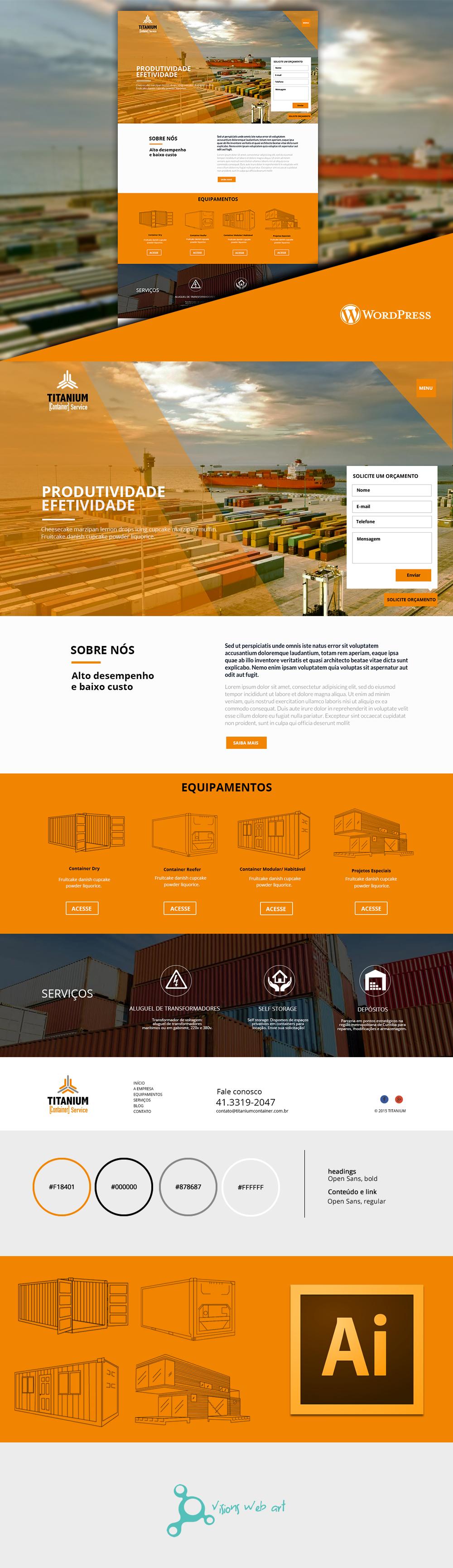 wordpress Responsive Web flat design orange design