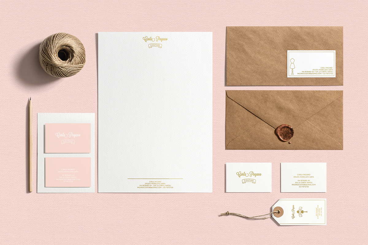 couture brand business card identity Clothing print fashionbrand fashionidentity photographer handmade dress Style Italy pink
