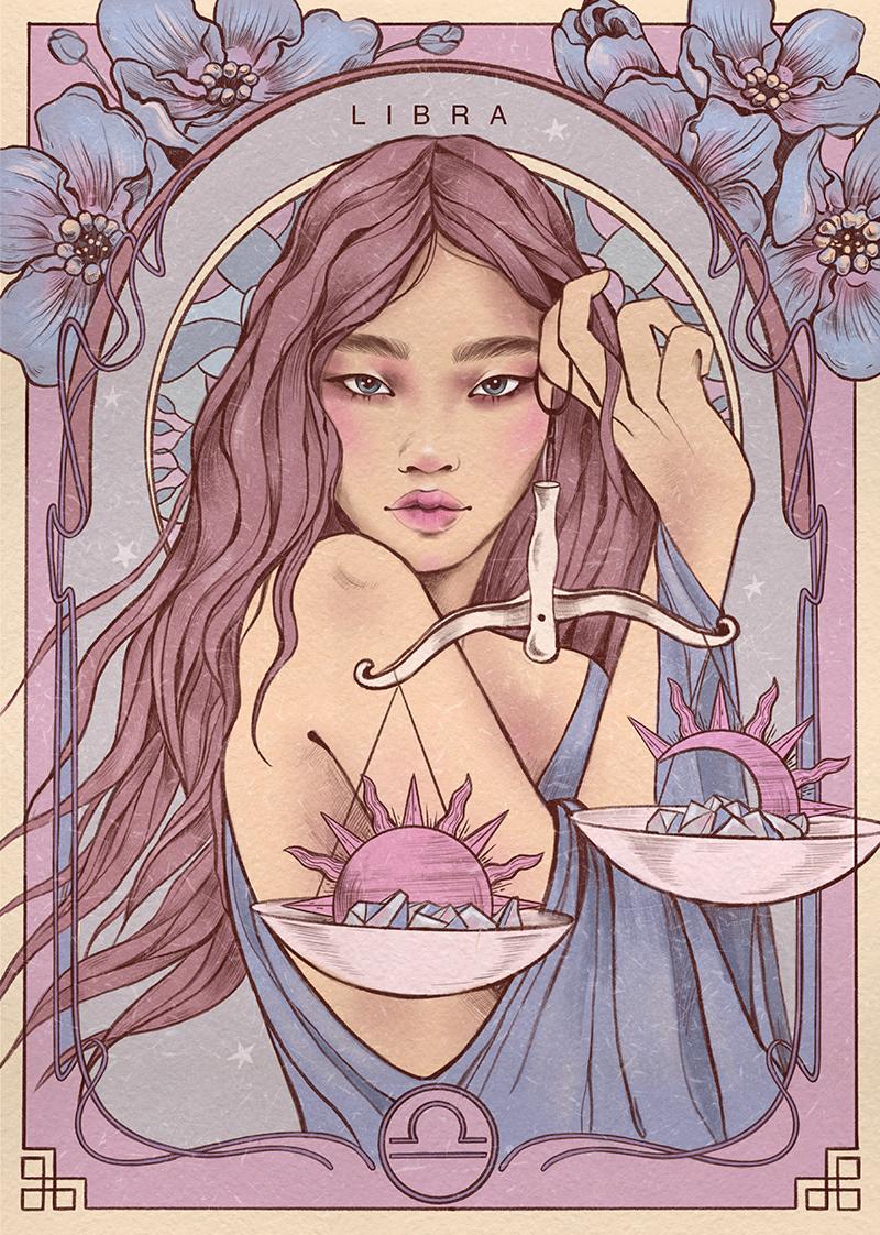 Digital Art  editorial fashion illustration ILLUSTRATION  Astrology Horoscope Magic   zodiac