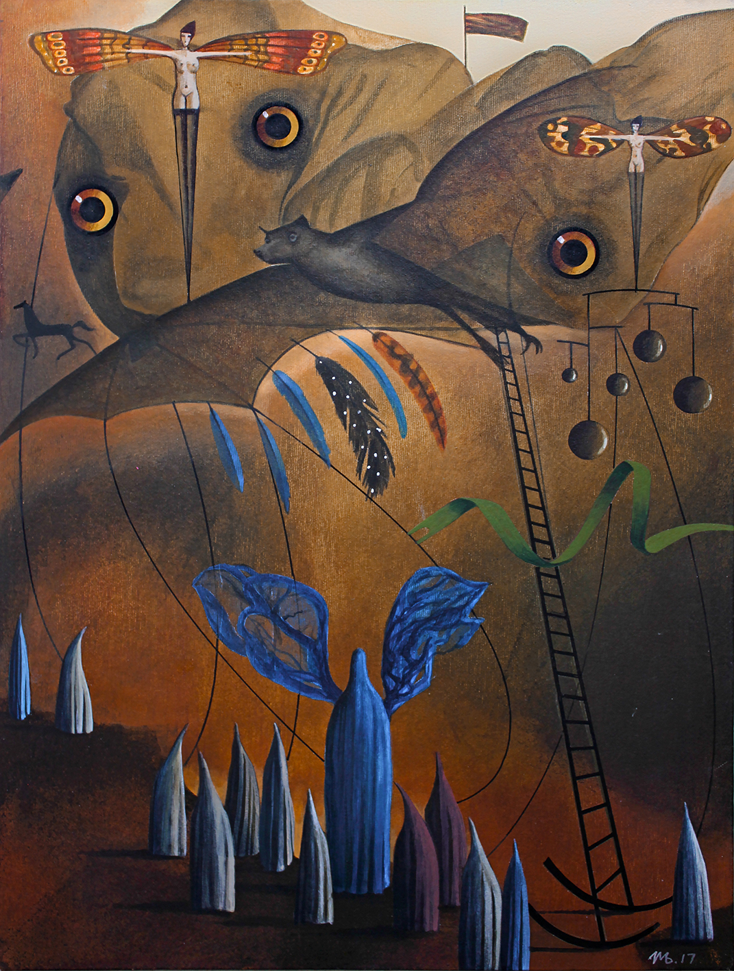 ILLUSTRATION  painting   Acrylic paint canvas Bats Ghosts Halloween abstract fantasy surrealism