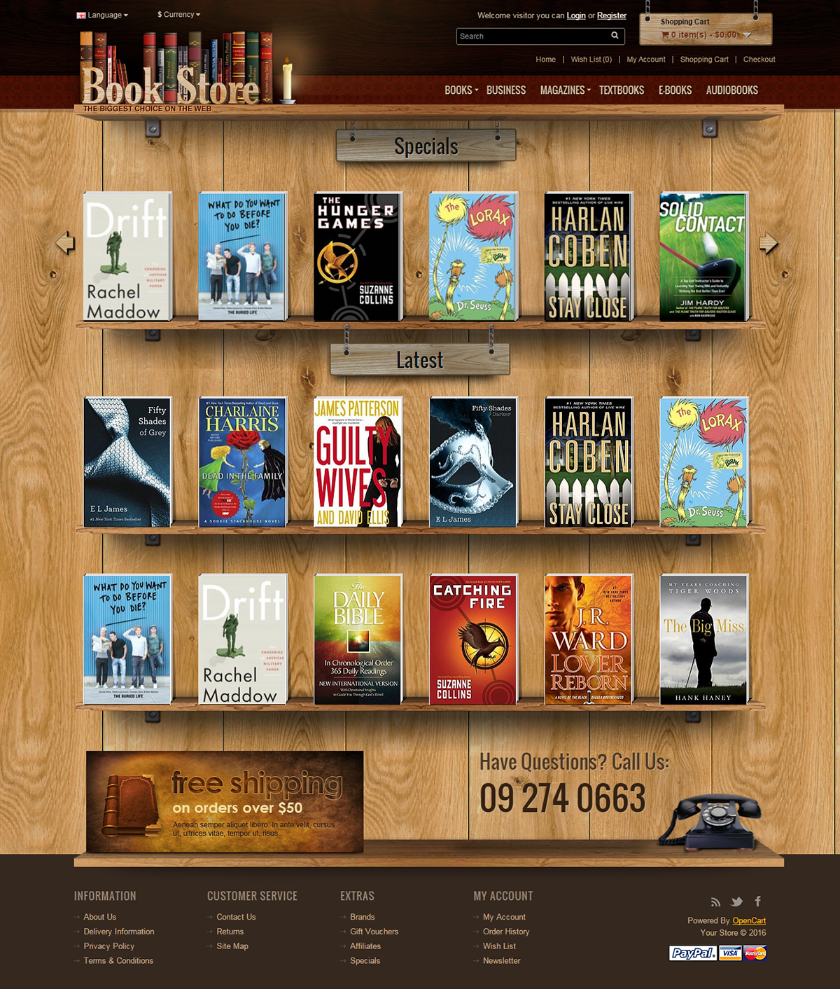 opencart bookstore template - book store 2 0 opencart theme on behance