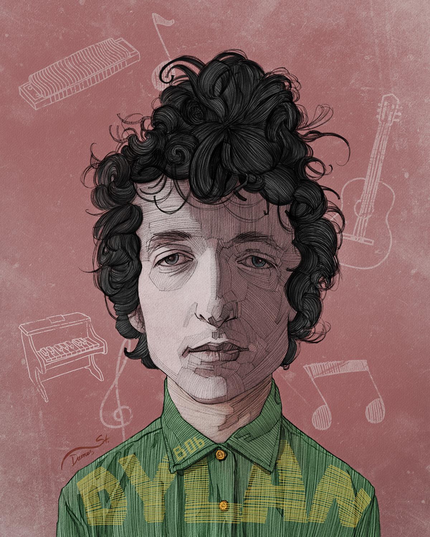 dylan poster Singer famous Celebrity legend musician editorial art artistic face