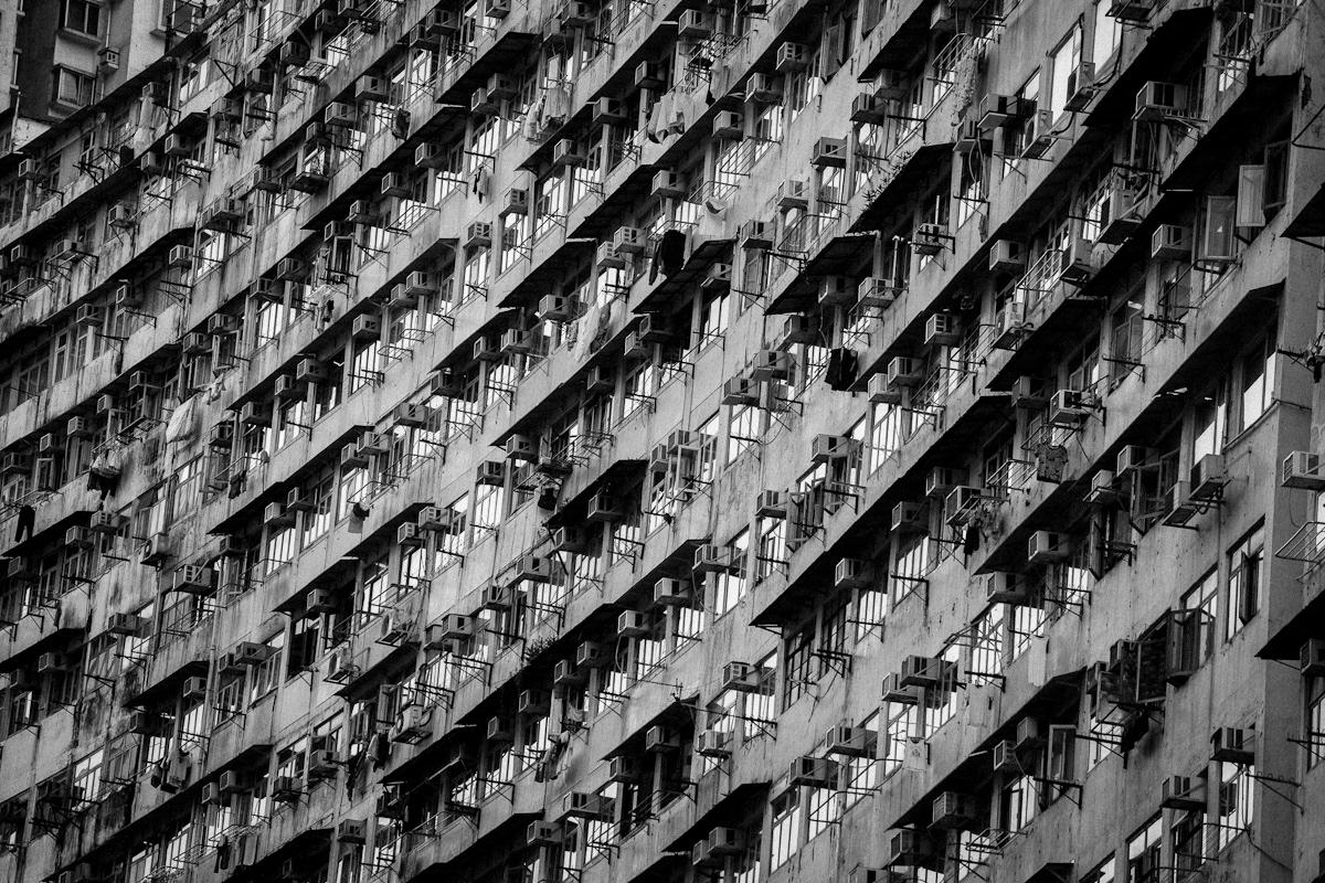 b/w black and white bw hk Hong Kong Monster building Yik cheong
