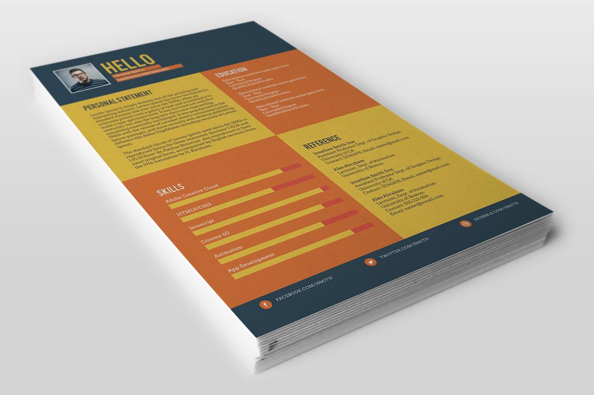 Resume CV resume template template flat flat style free freebie psd photoshop editable