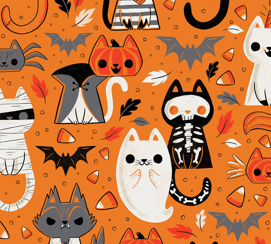 Cats of Halloween (Work in Progress Pattern) on Behance