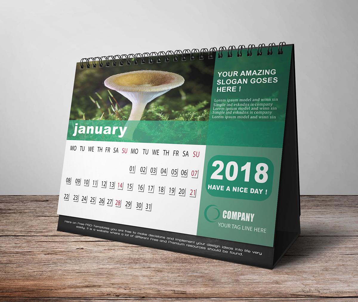 desk calendar 2018