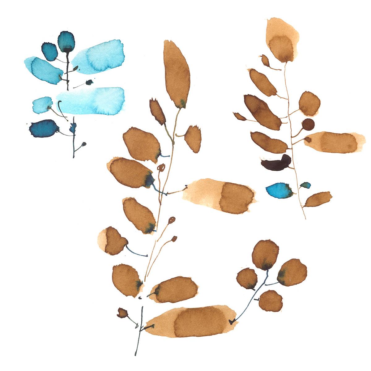 artist russian monochrome Patterns twigs watercolor акварель веточки монохром принт