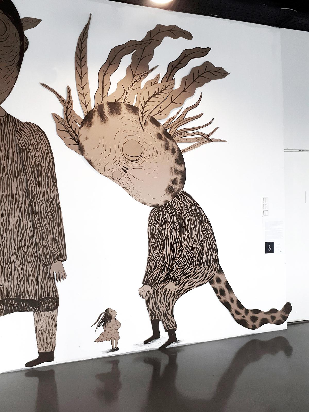 ILLUSTRATION  cardboard shape big illustration acrylic Veronica Neacsu line drawing 2018 illustration