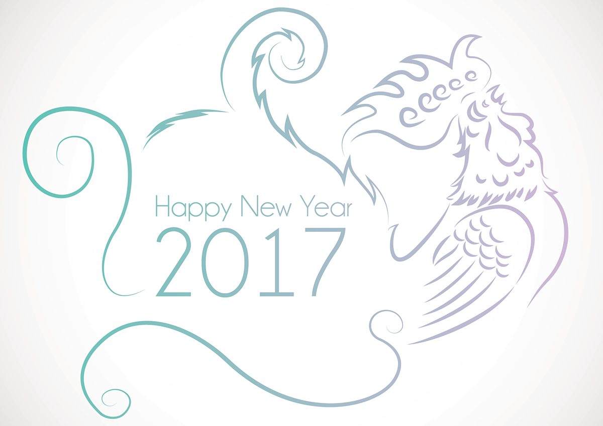 minimalist minimal concept design graphics chinese new year Rooster new year 2017 Rooster year postcard