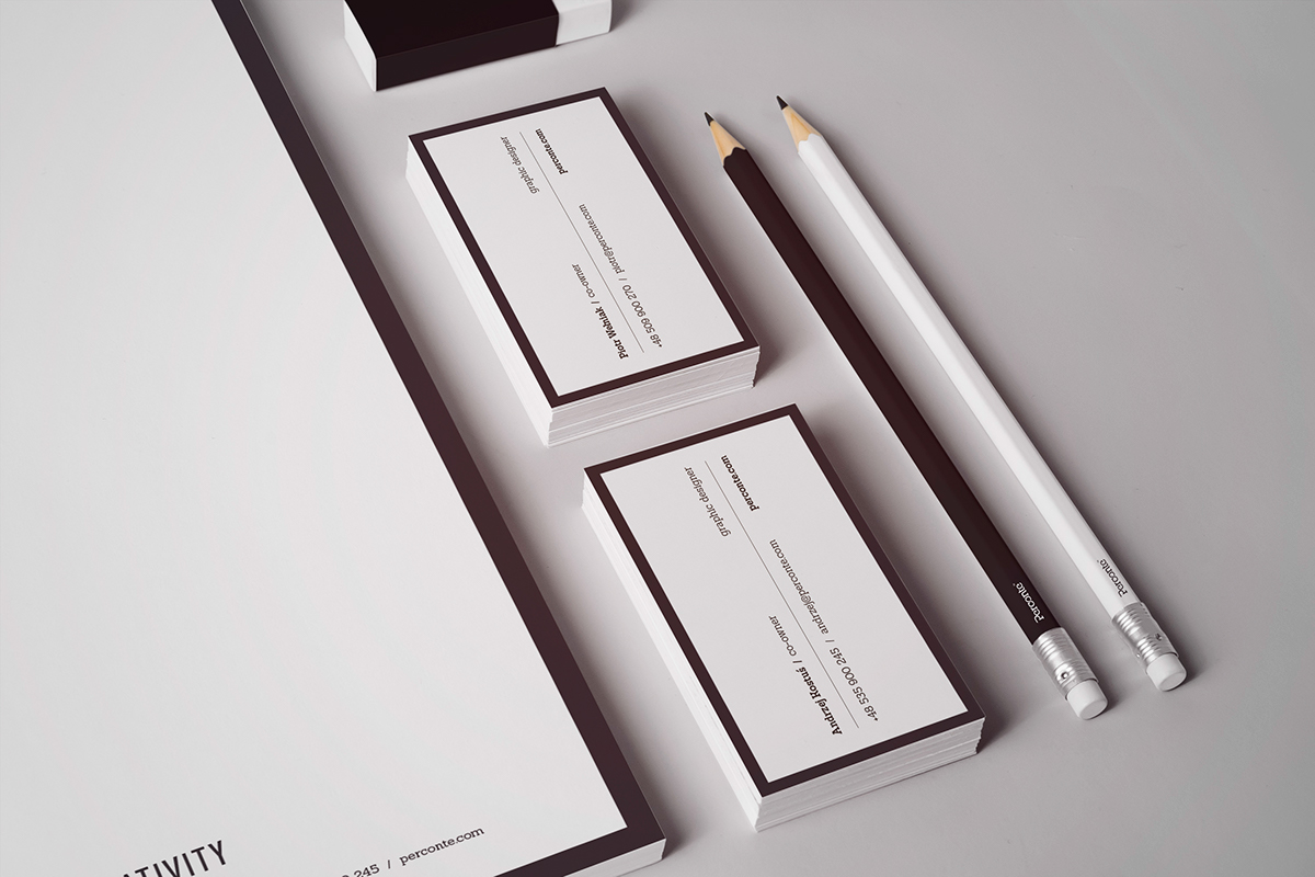 Perconte Stationery logo business card paper cup b&w simple minimalistic less